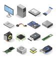 computer parts isometric set isolated on white vector image vector image