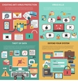 Computer security square flat icons composition vector image vector image