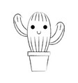 cute potted cactus flora decoration natural vector image