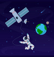 earth with astronaut cosmonaut floating in vector image