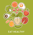 eat healthy vegetables and fruits with fish vector image