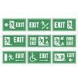 emergency fire exit sign set exit door label vector image vector image