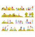 family activities orthogonal icons vector image vector image