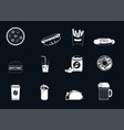 fast food white line icons vector image