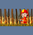 fireman at the wild fire scene vector image