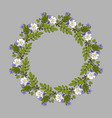 floral wreath with violet and rose vector image vector image