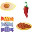 fried eggred hot chili pepperroast steakcandies on vector image vector image