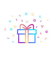 gift box with bow festive symbol with colorful vector image vector image