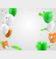 green orange balloons confetti concept design vector image vector image