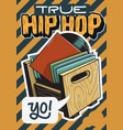 hip hop poster template design with a box with vector image