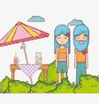 hippies couple at garden vector image vector image