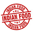 indian food round red grunge stamp vector image vector image