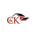 initial letters ck with rohouse shape vector image vector image