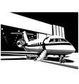 jet aircraft near hangar vector image