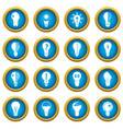 lamp logo icons blue circle set vector image vector image