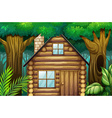 Little hut in the woods vector image vector image
