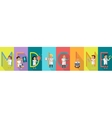 Medicine Science Banner Human Characters in Gowns vector image vector image