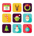 Merry Christmas New Year Square App Icons Set vector image vector image