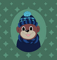 monkey in a dark blue cap and scarf print for vector image