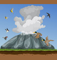 nature with small birds flying in vector image