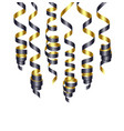 party decorations black and golden streamers or vector image vector image