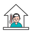 person with fever covid19 symptom stay at home vector image vector image