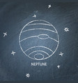 planet neptune icon on chalkboard vector image vector image