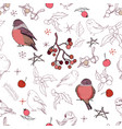 seamless pattern with different wild winter birds vector image vector image