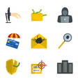 secret password icons set cartoon style vector image