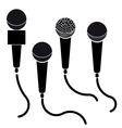 set microphones black silhouette isolated vector image vector image