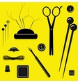 Sewing kit on a yellow background vector image