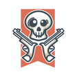 skull with weapons emblem vector image vector image