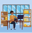 student sitting in library desk background vector image