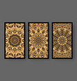 tarot cards back set with golden pattern vector image