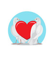 two doves stands red heart symbols of eternal love vector image vector image