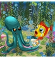 Underwater landscape octopus with goldfish vector image vector image