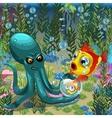 underwater landscape octopus with goldfish vector image