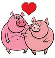 valentine card with pig characters in love vector image