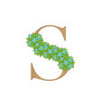 wooden leaves letter s vector image vector image