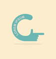 logo hand Letter C Pointing gesture hands vector image