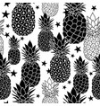 balck and white hand drawn pineapples vector image vector image