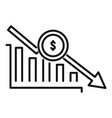 bankrupt chart icon outline style vector image vector image