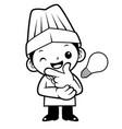 black and white cartoon chef mascot good idea vector image