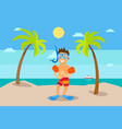 boy standing on beach palm tree and sea vector image vector image