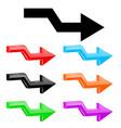 broken arrows 3d colored shiny icons vector image vector image