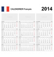 Calendar 2014 French Type 19B vector image vector image