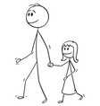 cartoon of father walking with daughter and vector image vector image