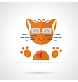 Cheerful orange cat flat icon vector image