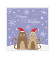 christmas kittens snowflakes holidays landscape vector image