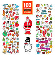 christmas stickers collection winter holidays badg vector image vector image